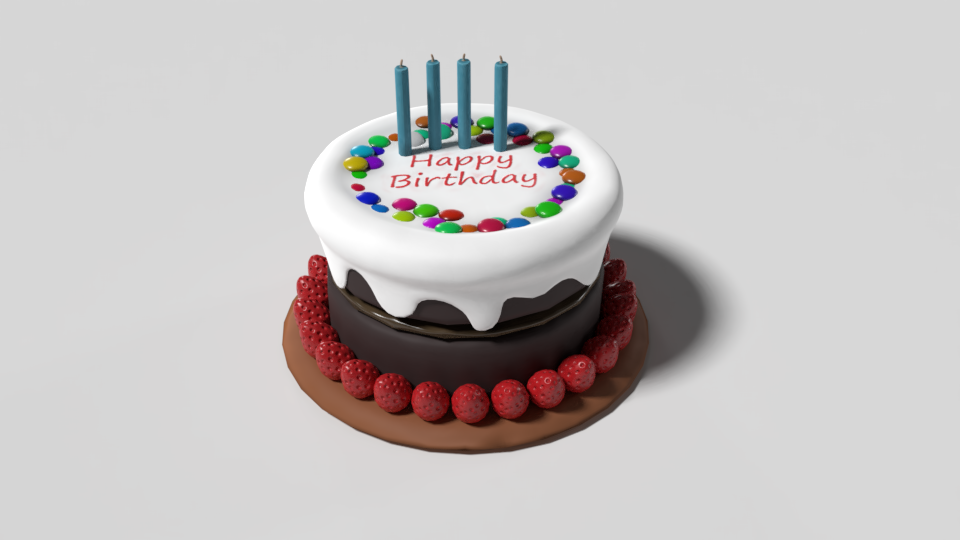 Birthday Cake 3d Model In Sweets 3dexport