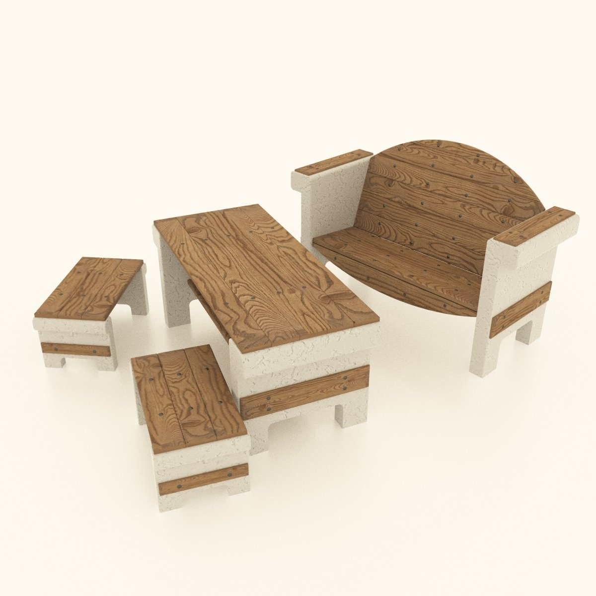 set of garden furniture made of concrete and wood 3d model