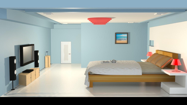 Delicieux Simple Bedroom 3D Model