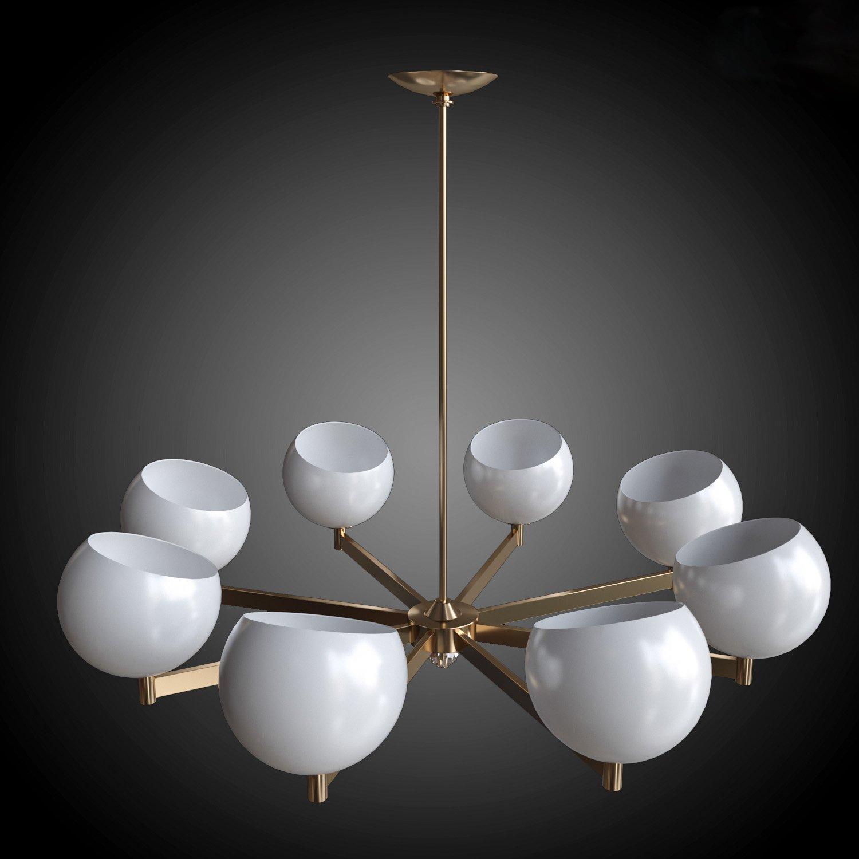 Chandelier brass and glass Globe 3D Model in Ceiling Lights 3DExport