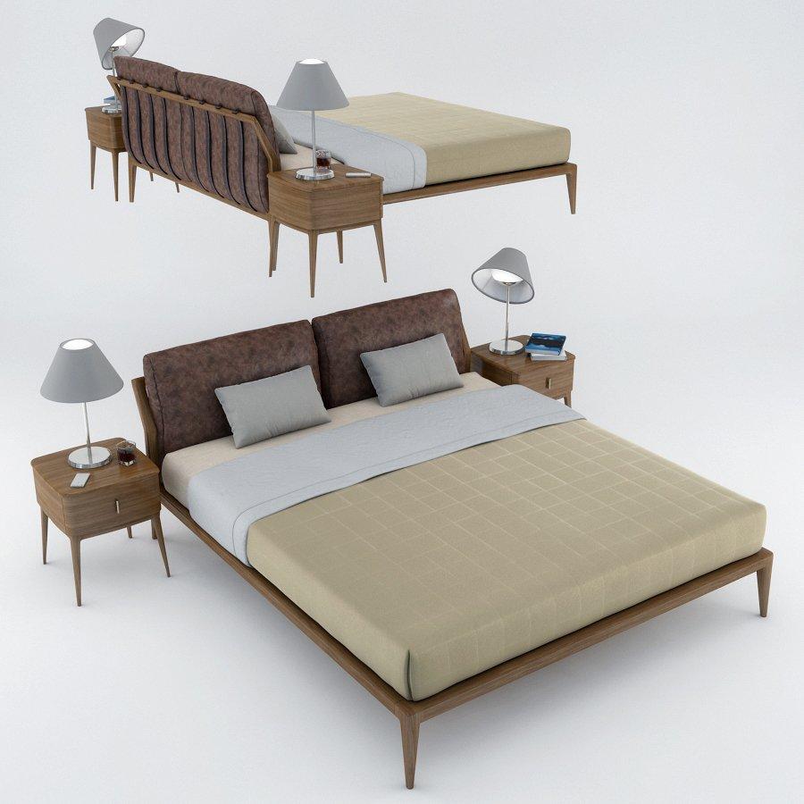 Philipp Selva Indigo Bed 3D-Modell in Schlafzimmer 3DExport