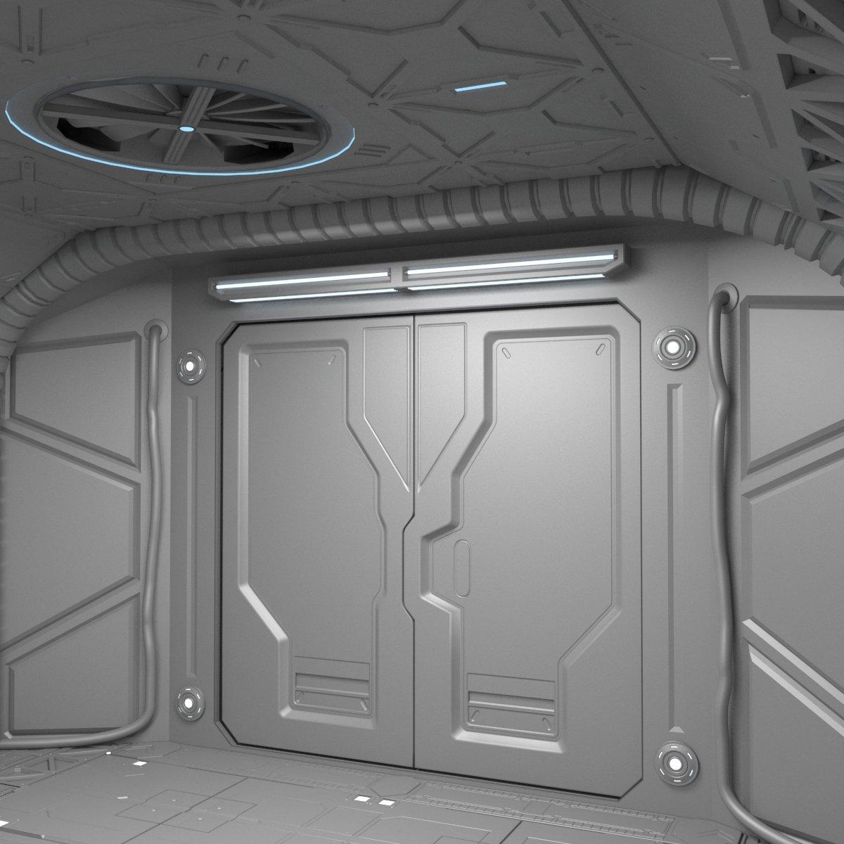 Sci-Fi hall environment 3D Model in Store Spaces 3DExport