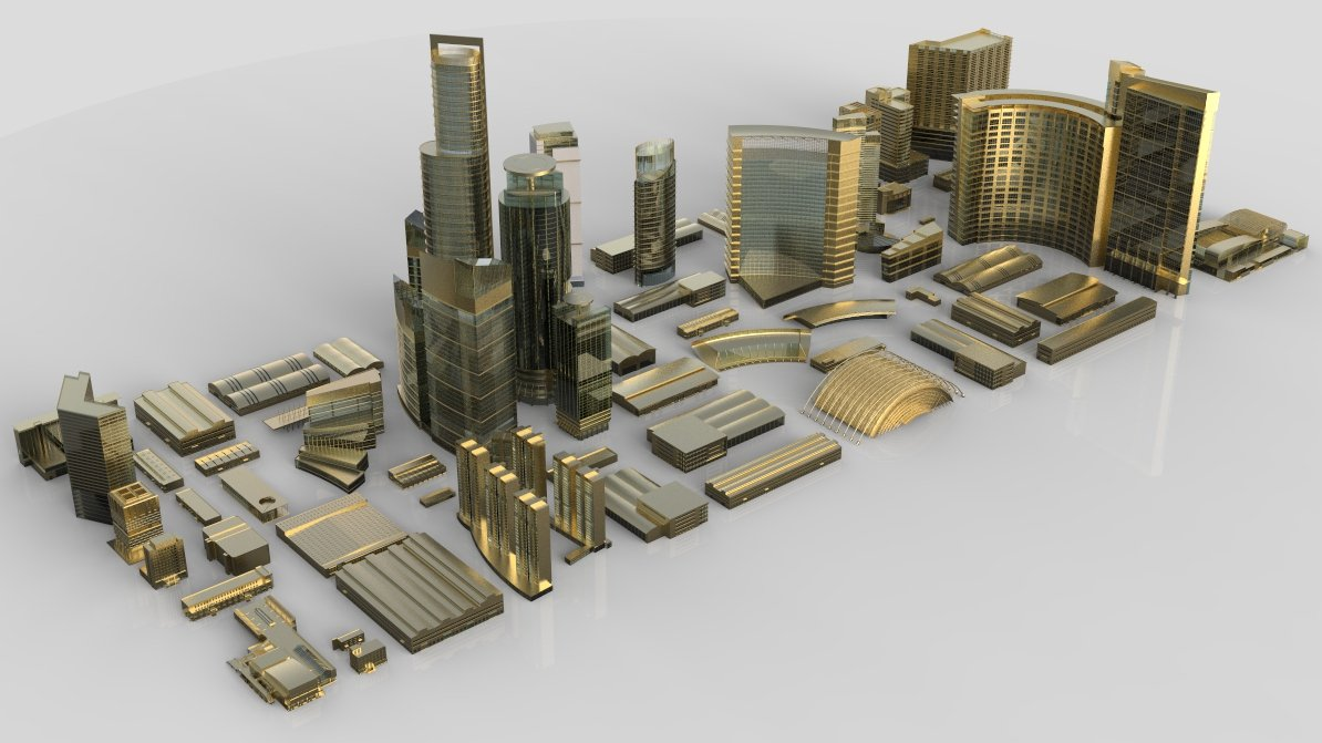 City Building Kitbash Collection 3D Model in Buildings 3DExport
