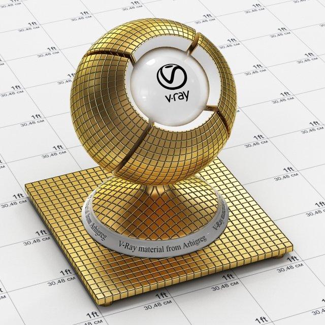 Vray Material - Mosaic Metal Gold 3D Model in Metal 3DExport