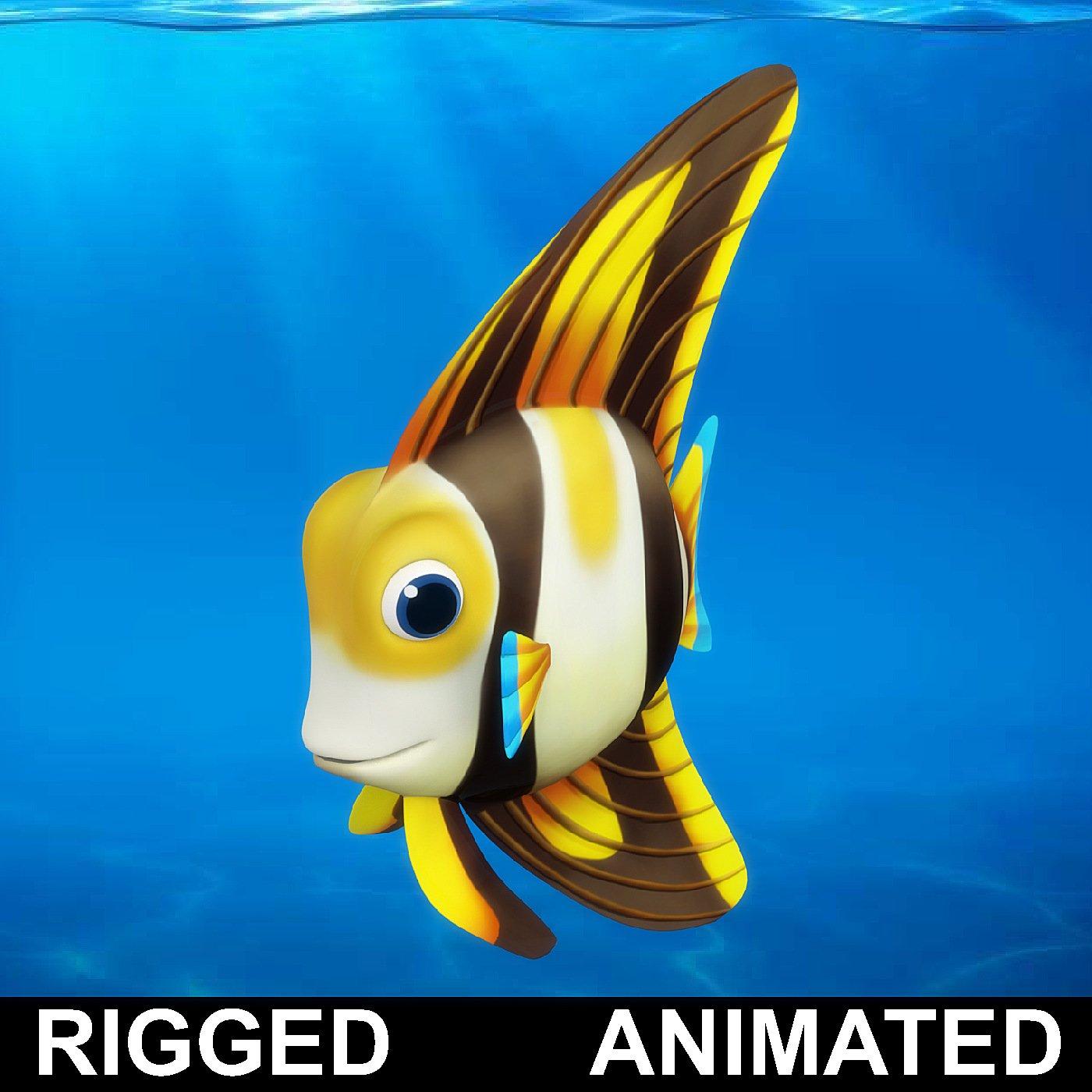 Cartoon fish 07 Rigged Animated Modelo 3D in Pez 3DExport