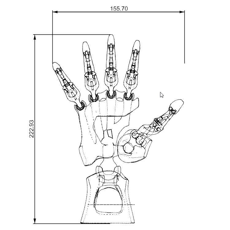 biomimetic articulated hand 3d model in mechanical parts 3dexport