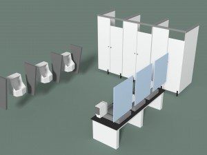 Low Poly Office Toilets 3D Modell