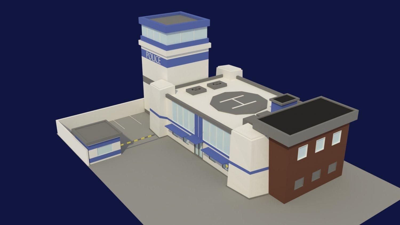 Low Poly Police Station 3D Model in Buildings 3DExport