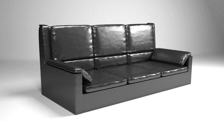 Classic leather sofa Sophia color Black 3D Model in Sofa 3DExport