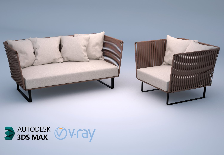 Kettal Bitta 2 Seater Sofa And Club Armchair 3d Modell In Aussengegenstande 3dexport