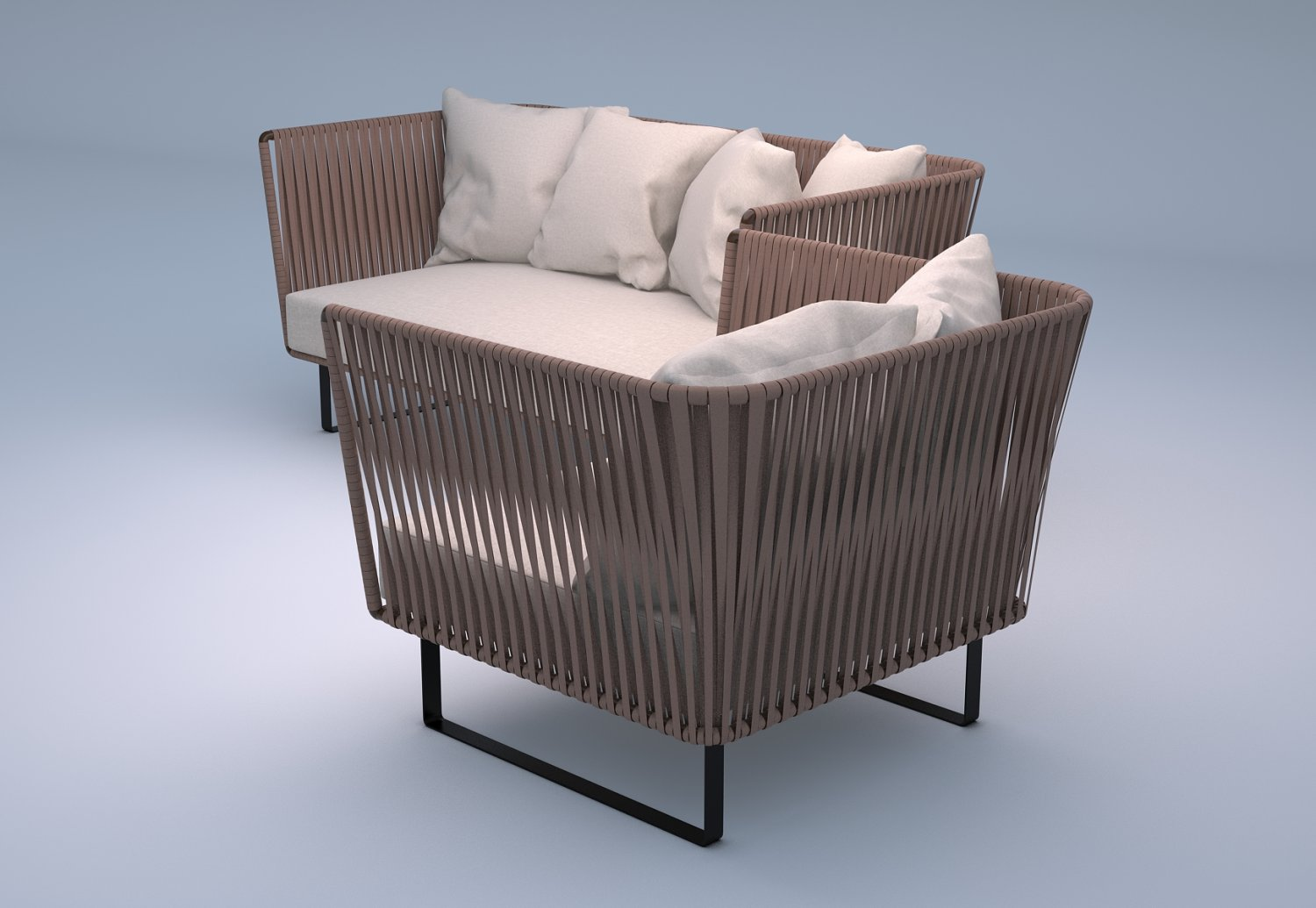 Kettal Bitta 2 Seater Sofa And Club Armchair 3d Model In Outdoor