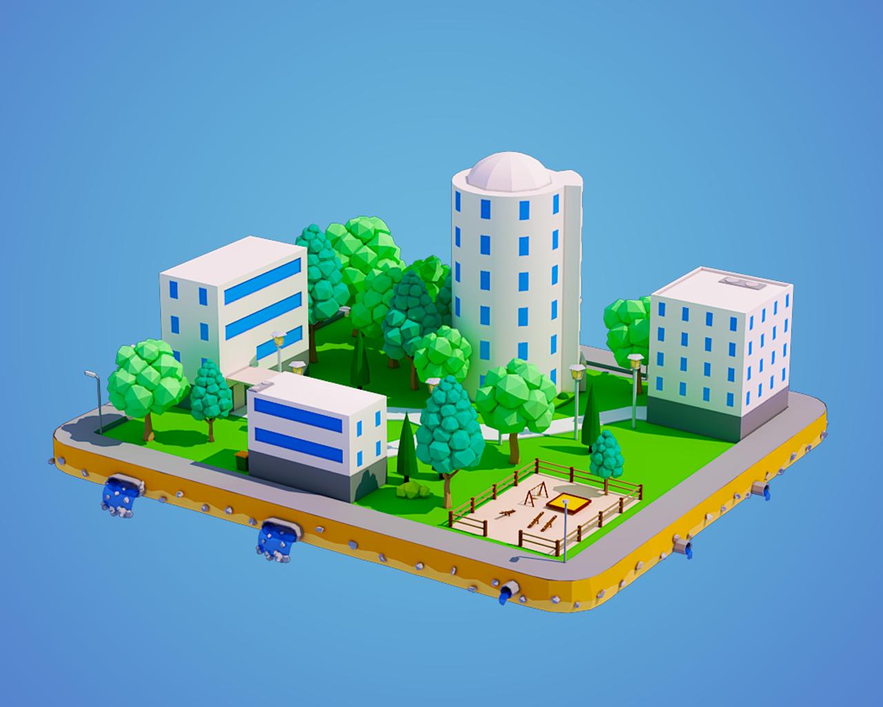 Low Poly City Block 3D Model in Buildings 3DExport