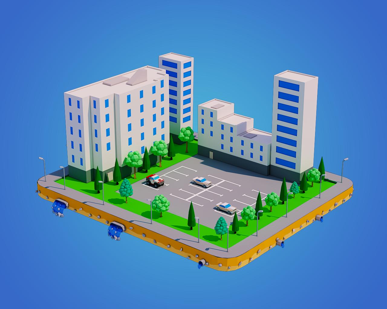 Low Poly City Block 3D Model in Cityscapes 3DExport