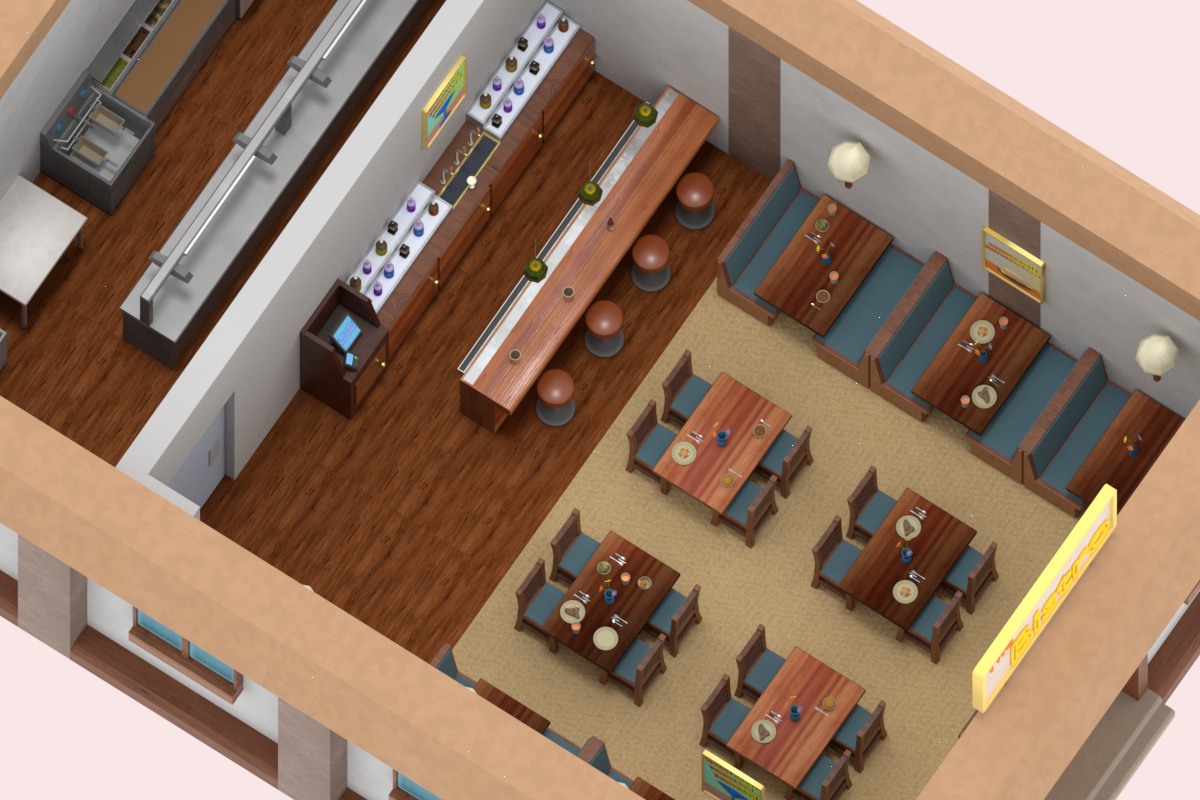 Low-Poly PBR Restaurant Pack Modelo 3D in Cocina 3DExport