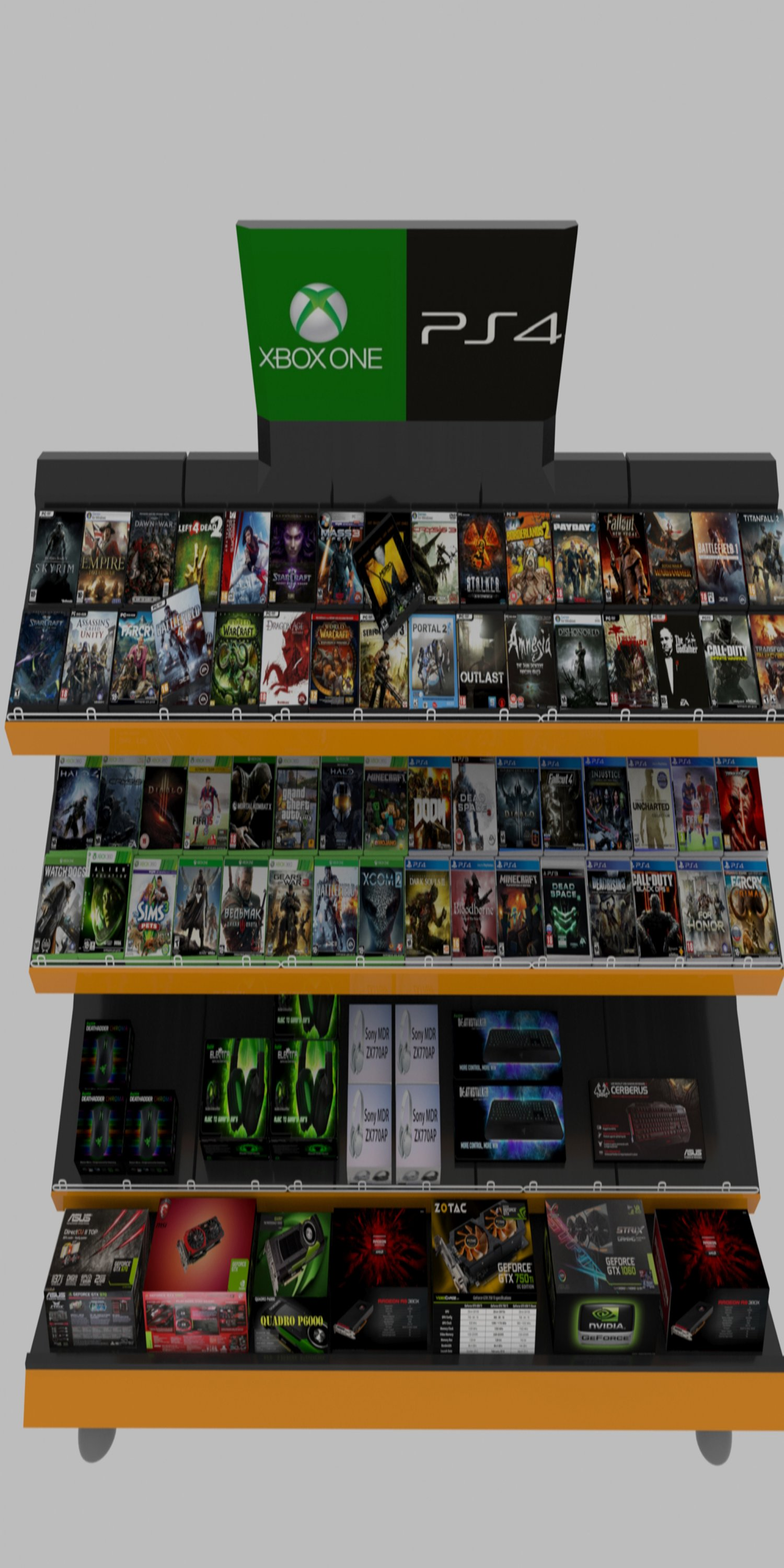 Store shelf 3D Model in Store Spaces 3DExport