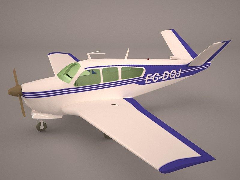 Civil Utility Aircraft Beechcraft Bonanza S35 V Tail 3D Model in Commercial  3DExport