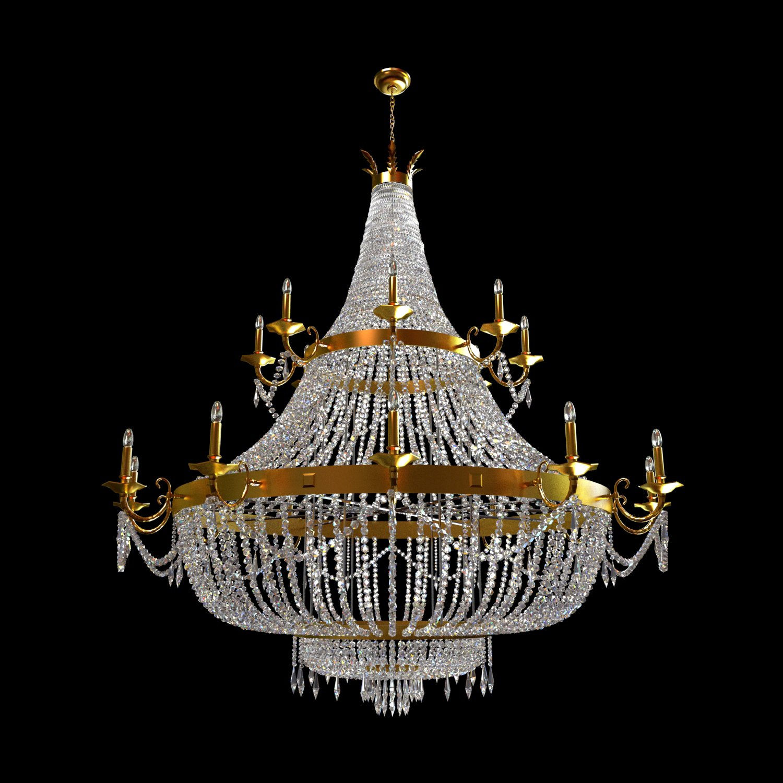 Classical crystal luster 3D Model in Ceiling Lights 3DExport