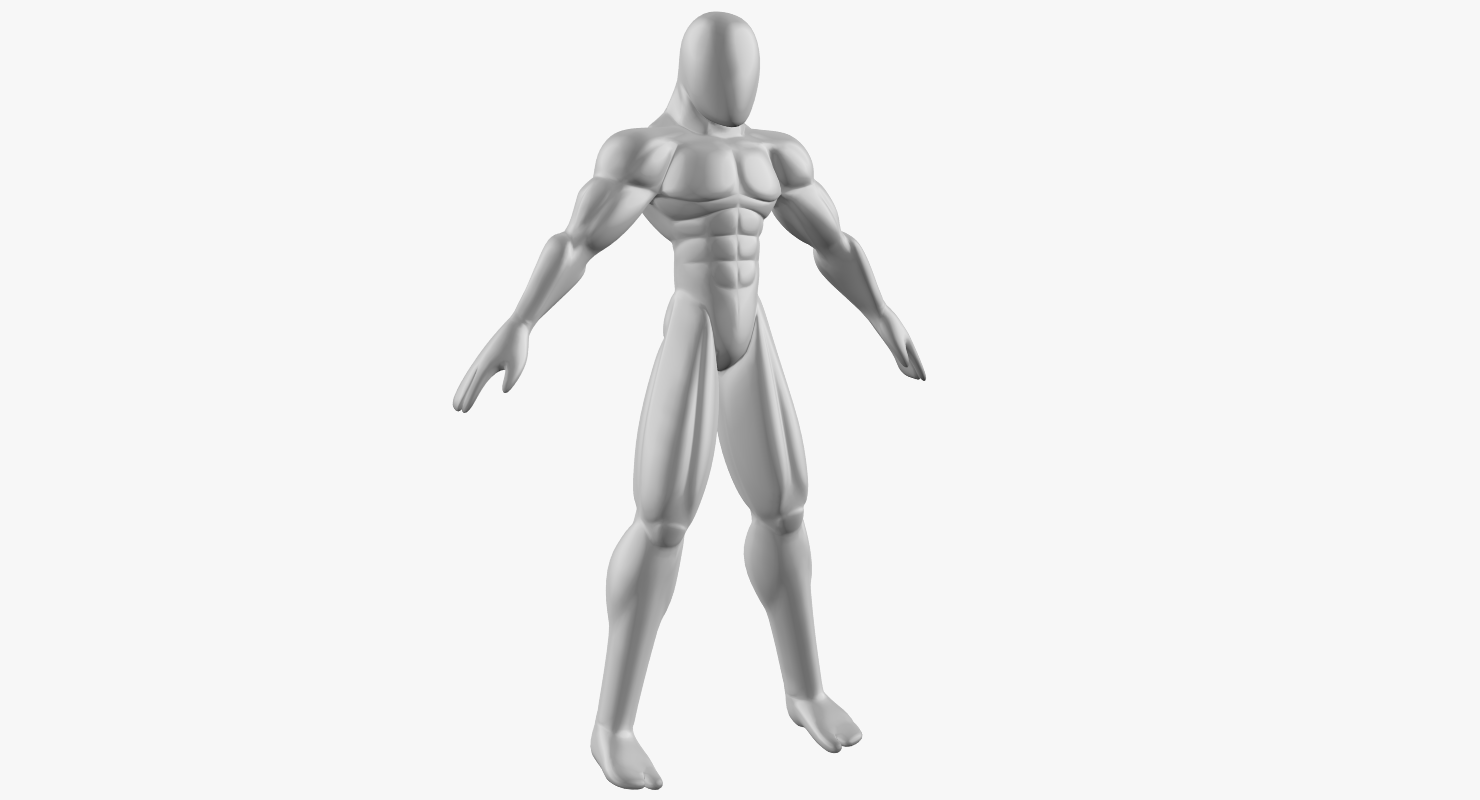 Male Base Mesh - Muscular Cartoon Fighter Character Modelo 3D in ...