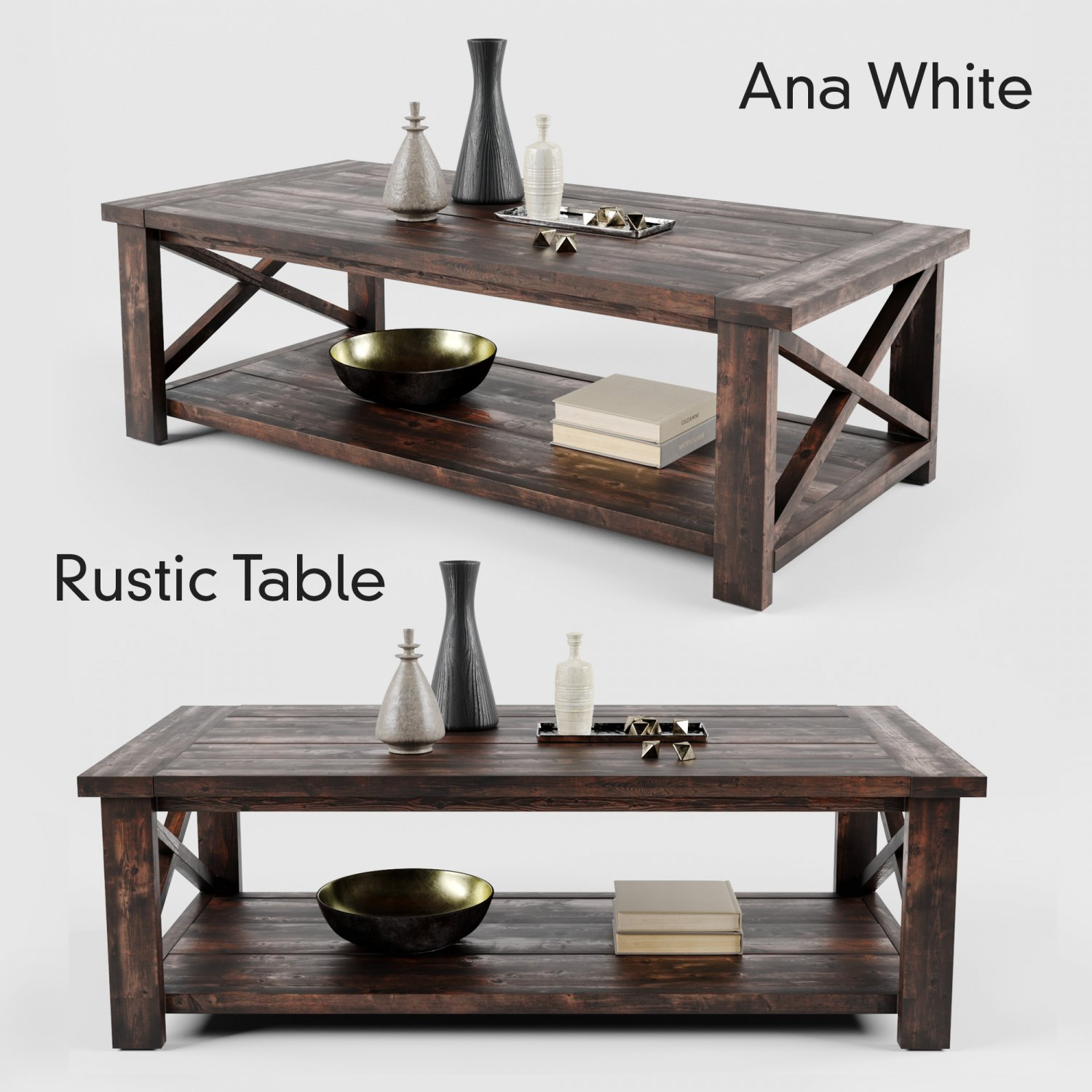 - Ana White Rustic X Coffee Table 3D-Modell In Tisch 3DExport