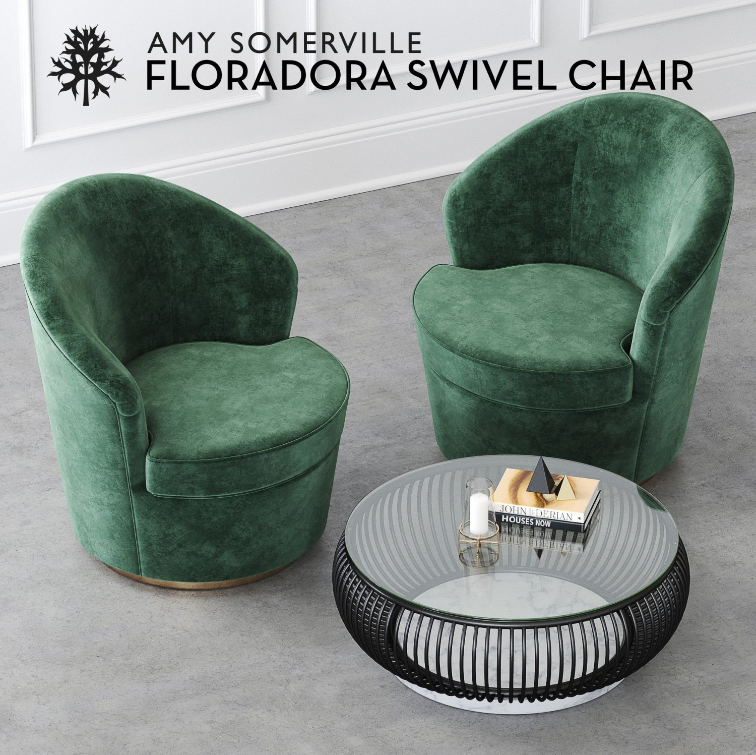 Floradora Swivel Chair With CB Haven Coffee Table D Model In Chair - Cb2 haven coffee table