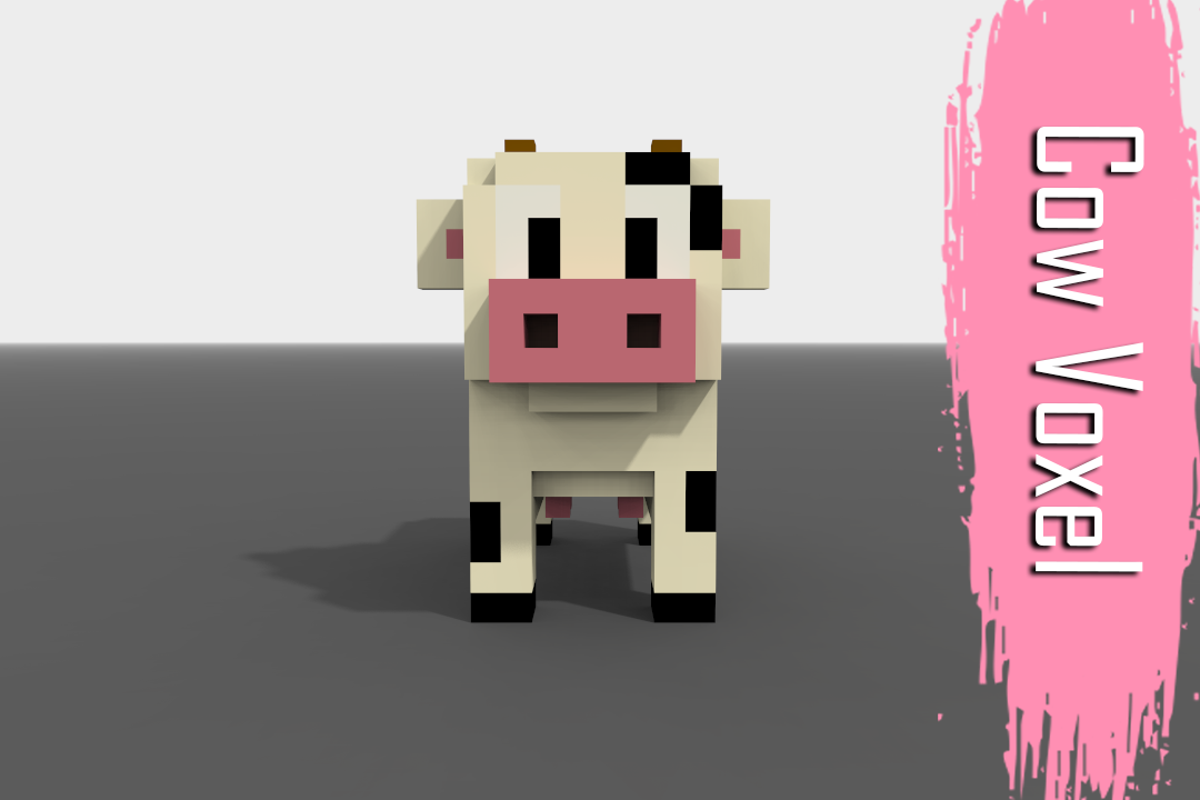 Voxel Cow low-poly 3D Model in Cow 3DExport
