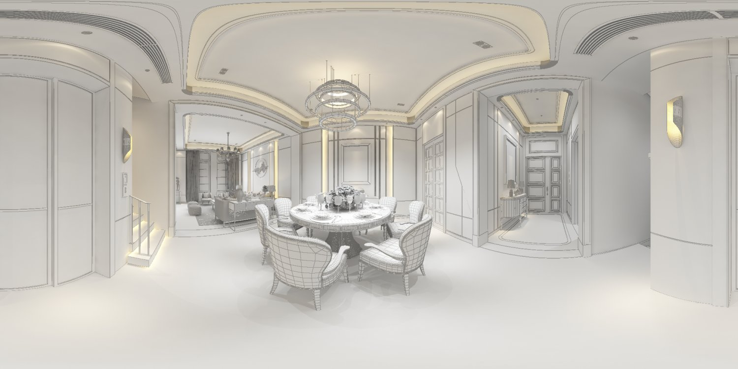 Panoramic neo-classical style dining room kitchen space 02 3D Model ...