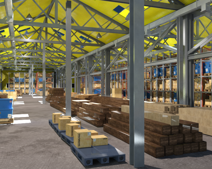 Warehouse Interior And Exterior Whit Props D Model 3D Model In Parts  3DExport