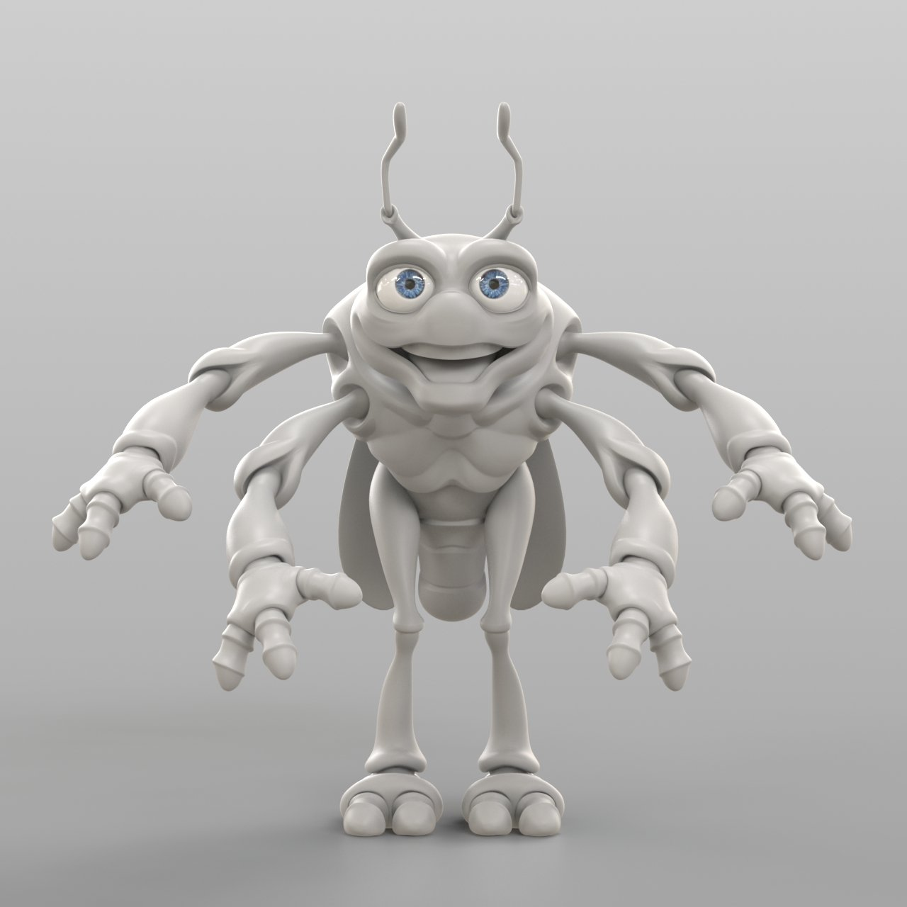 Cartoon Cicada 3D Model in Other 3DExport