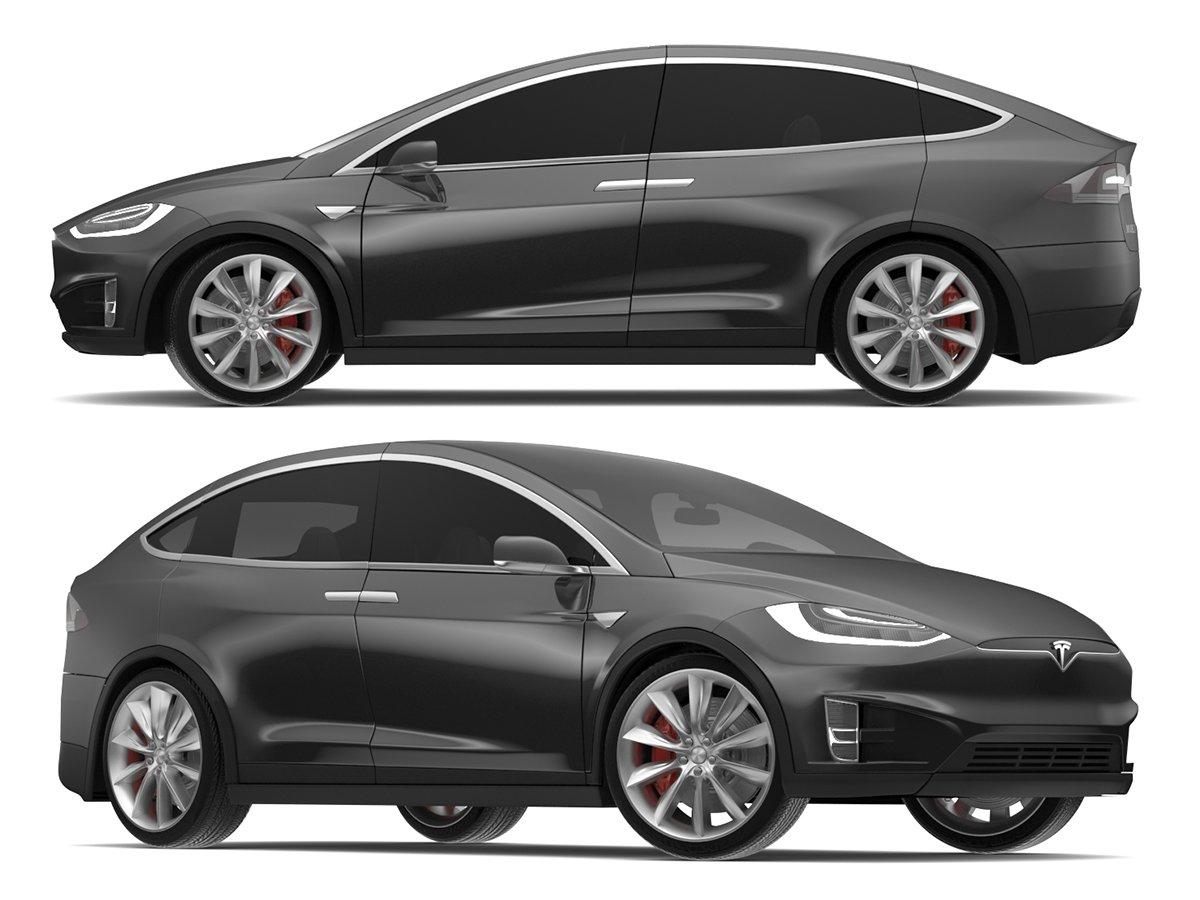2017 Tesla Model X Solid Black Obsidian Black Metallic 3d Model In