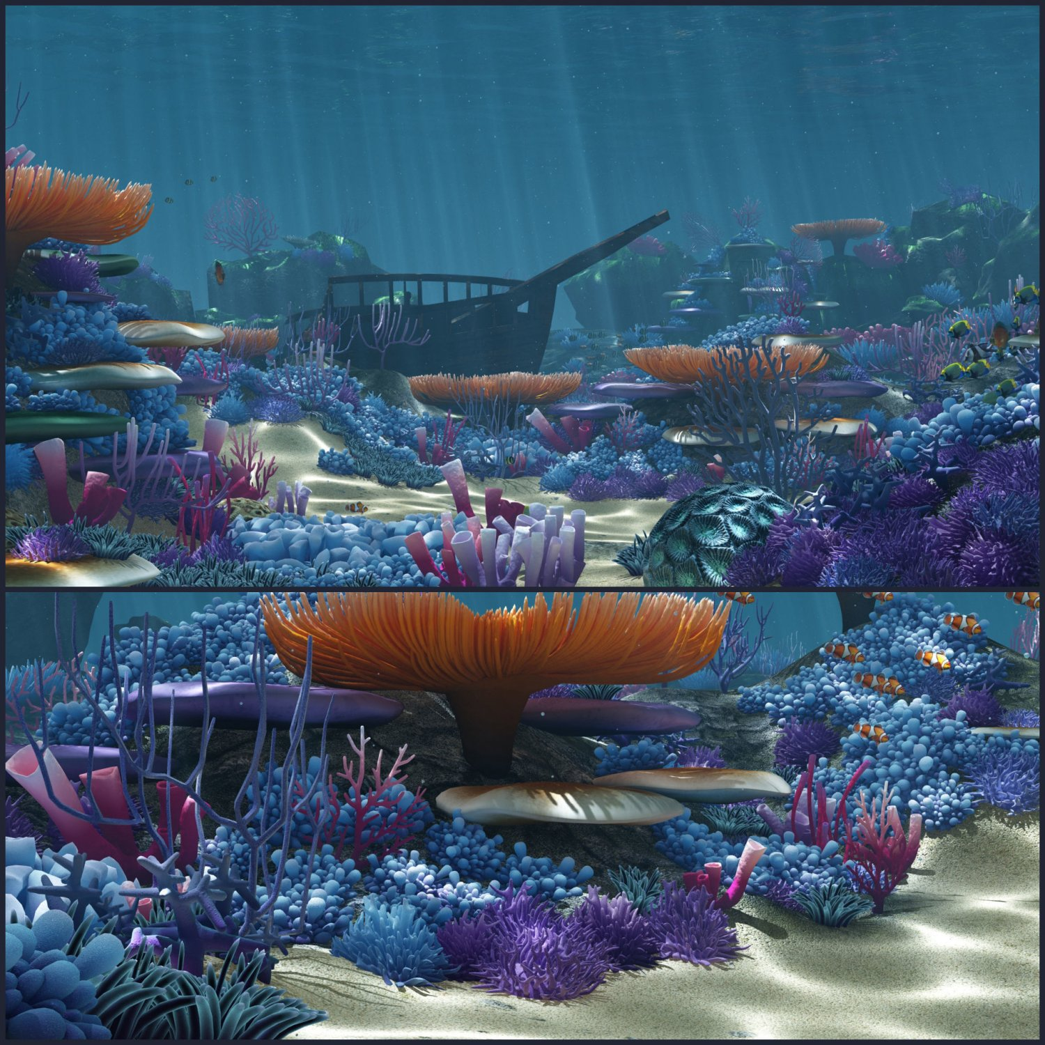 ocean floor coral reefs cartoon underwater 3dモデル in 景観 3dexport