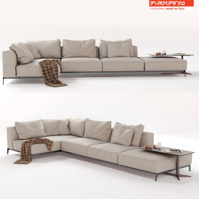 Flexform Sectional Sofa Ettore 3D Model in Sofa 3DExport