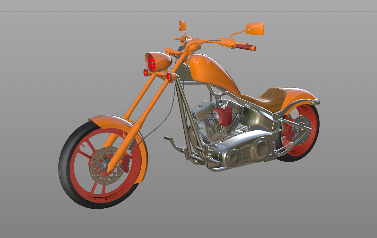 Big Dog K9 Chopper Motorcycle 3D Model in Motorcycle 3DExport