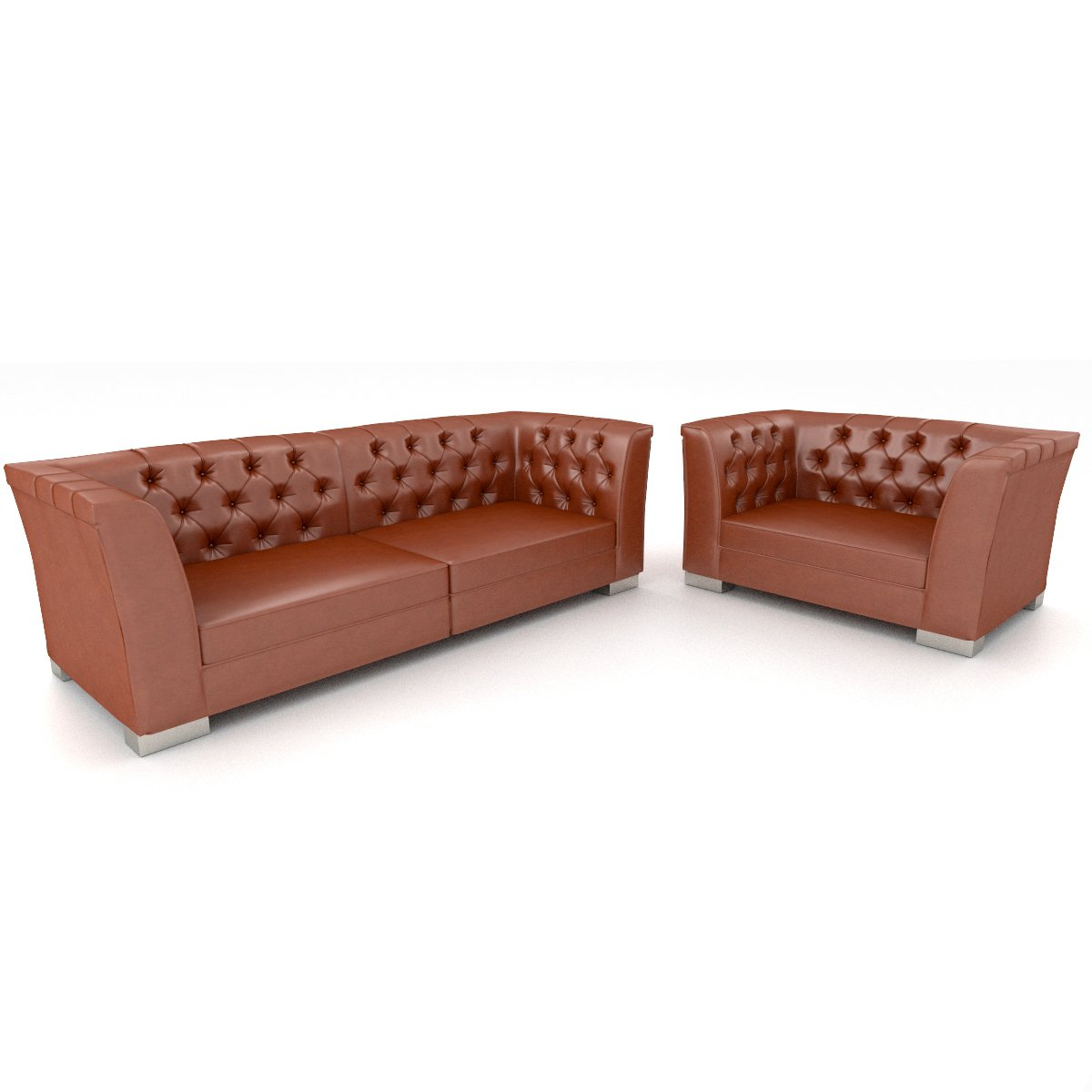 - 3d Furniture Set Leather Sofa And Chair 3D-Modell In Set 3DExport