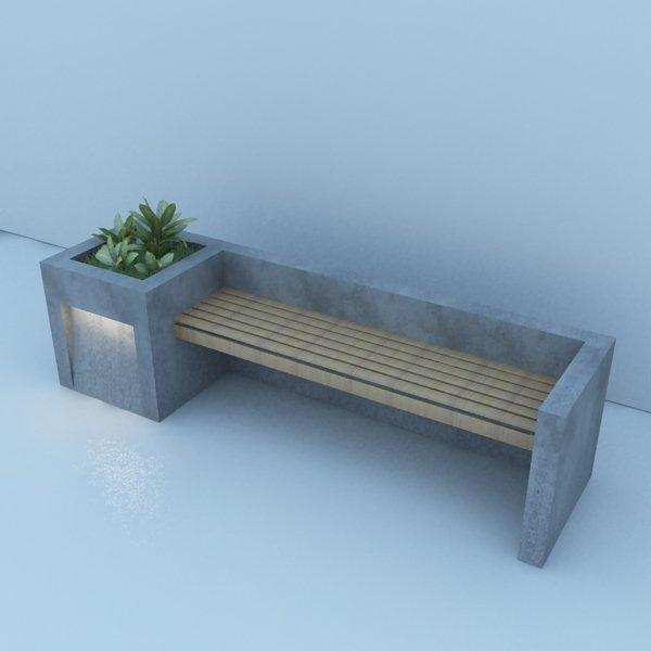 . Modern Bench Street and Garden 3D Model in Decoration 3DExport