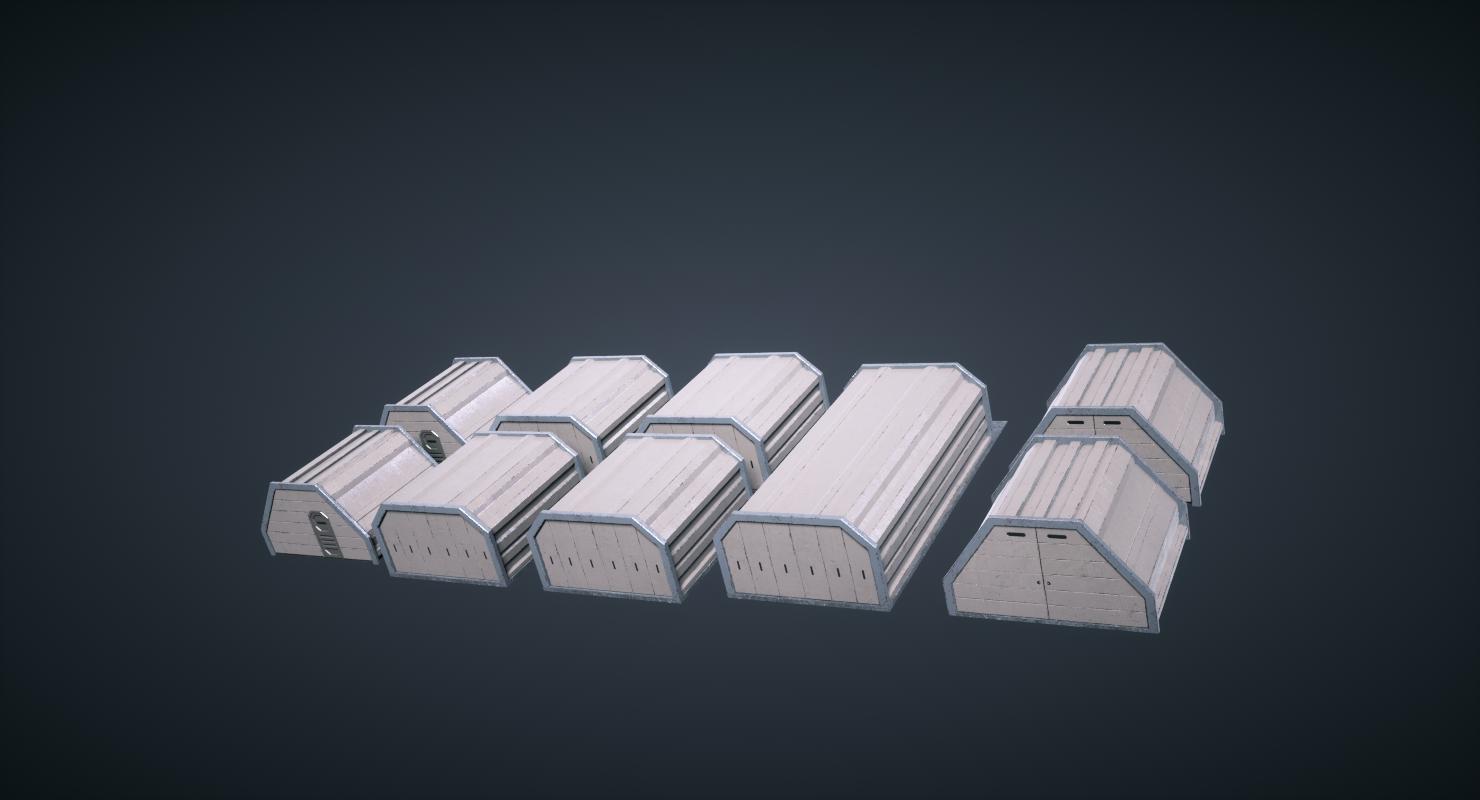 Mars KitBash - Hangars 3D Model in Other 3DExport