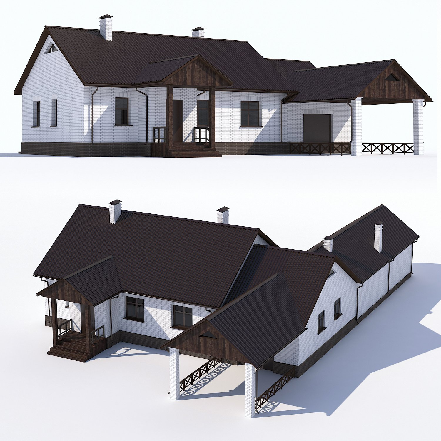 one storey house with garage and porch 3dモデル in 建物 3dexport
