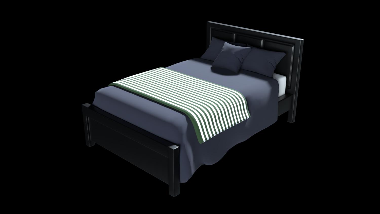 Modern bed 2 3d model in bedroom 3dexport