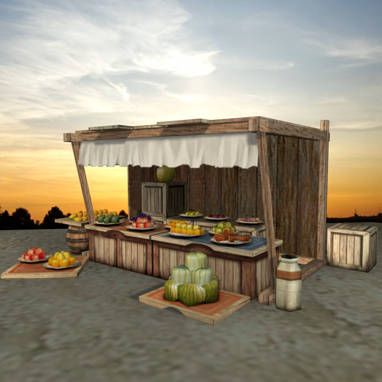 Medieval Fruit Shop 3D Model in Fruit 3DExport