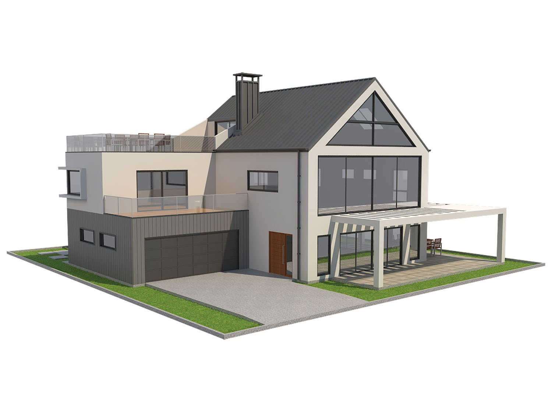 Modern house 4 3d model in buildings 3dexport