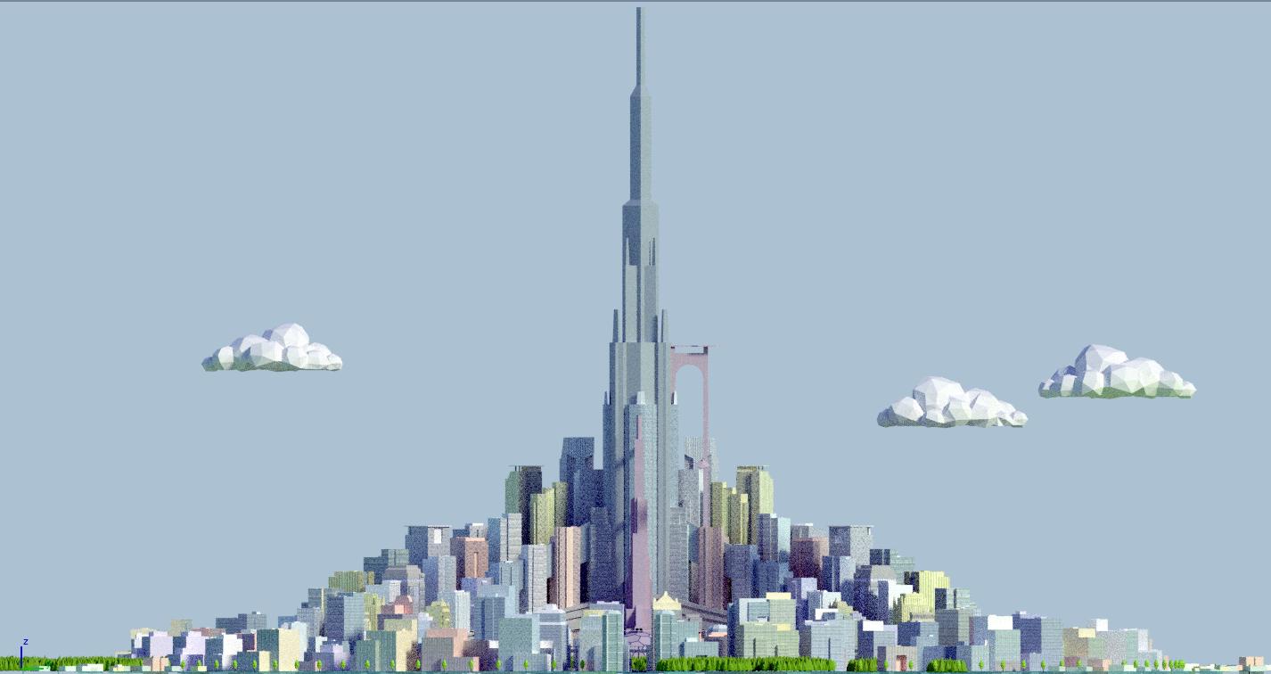 Futuristic city 3D Model in Cityscapes 3DExport