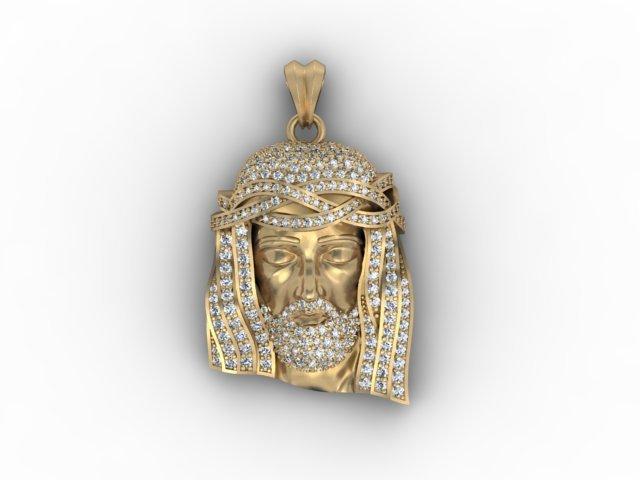 Jesus head pendant with gems 3d in 3dexport jesus head pendant with gems 3d mozeypictures Gallery