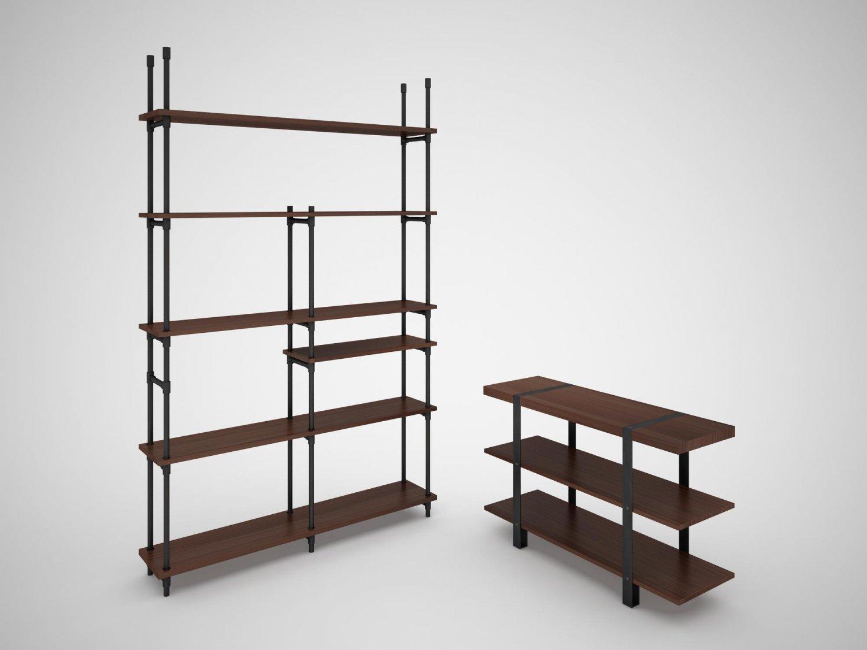 industrial steel pipe shelves and marley sofa table 3d model in rh 3dexport com