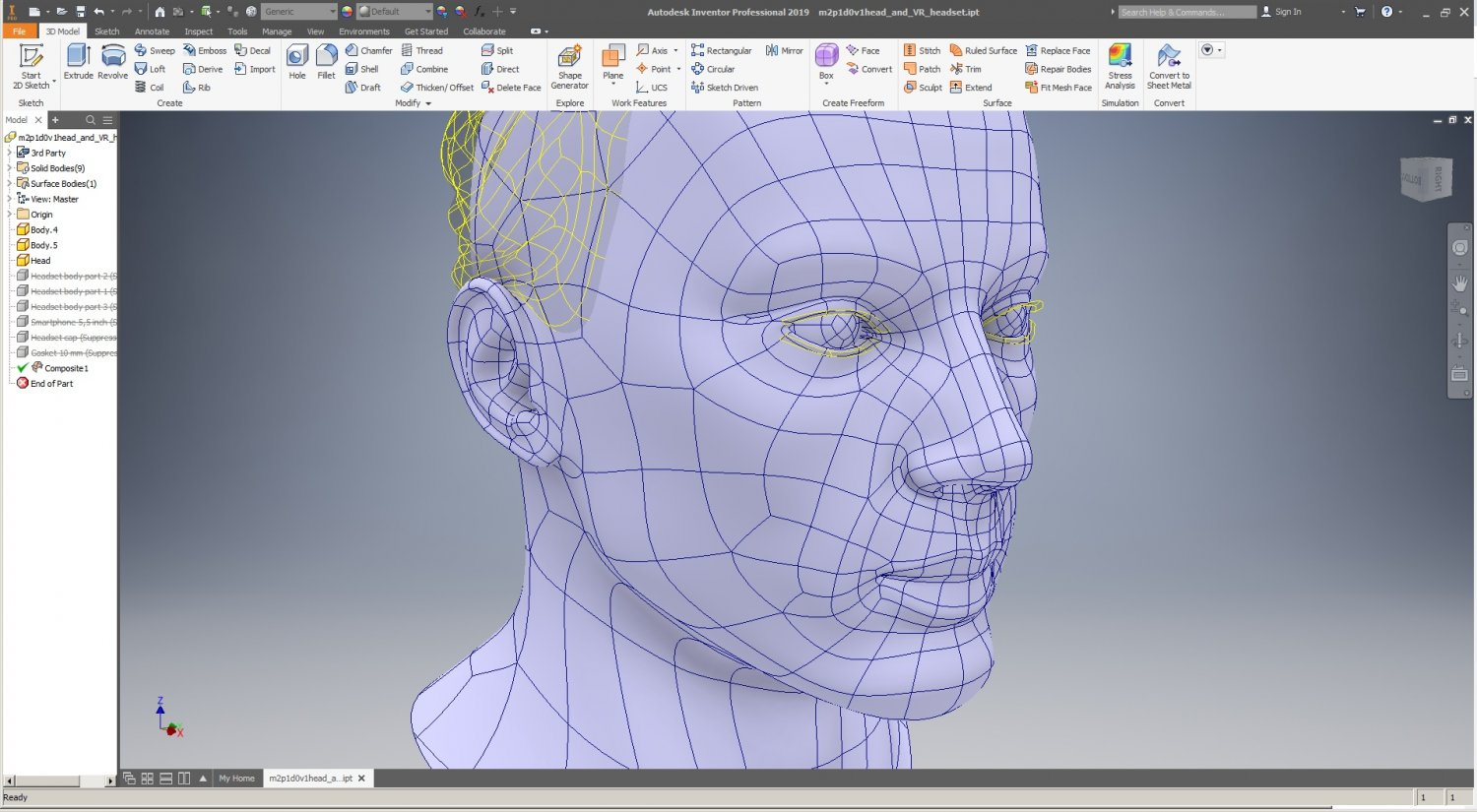 CAD Male Head Model M2P1D0V1head and VR headset template 3D Model in Man  3DExport