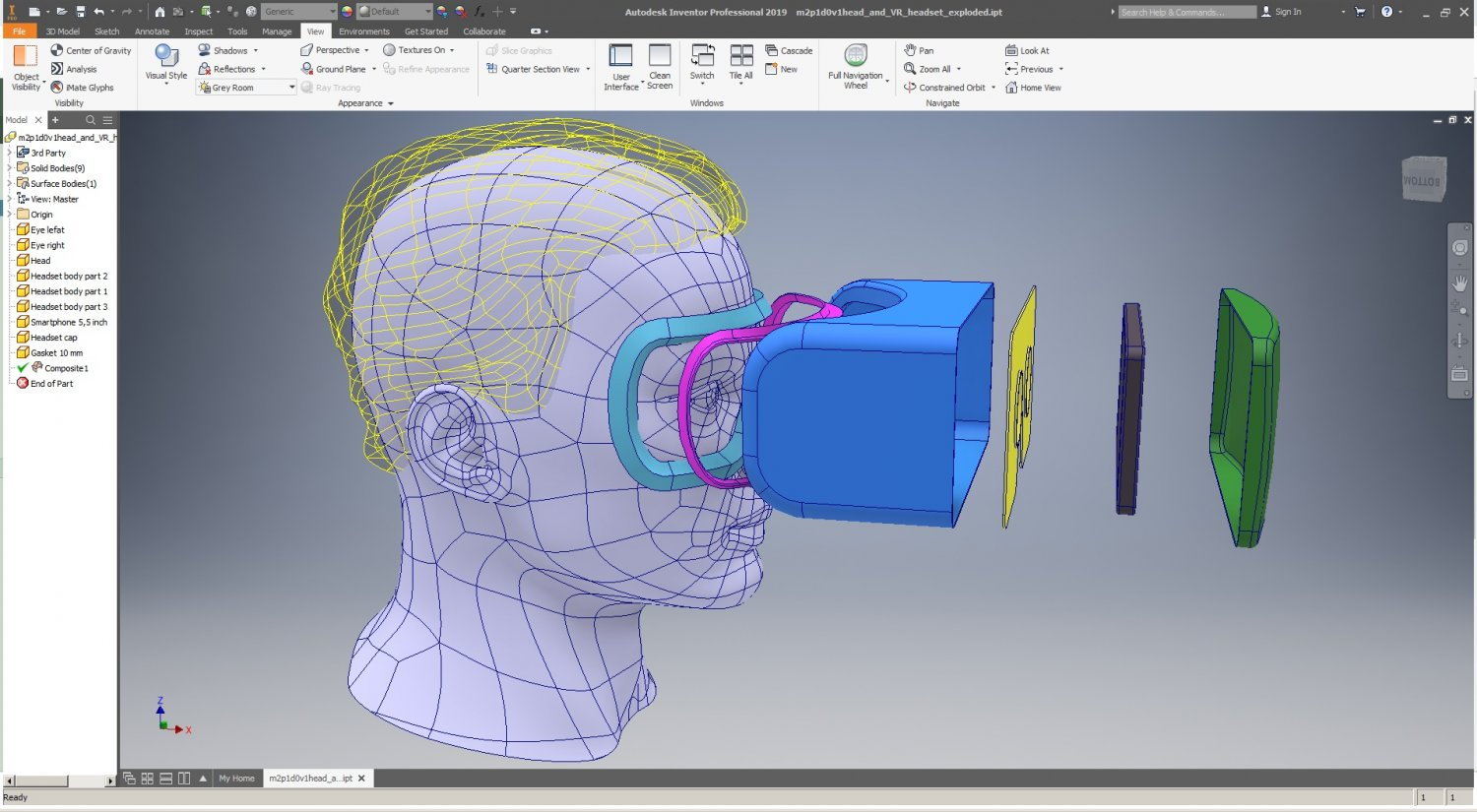 cad male head model m2p1d0v1head and vr headset template 3d model in