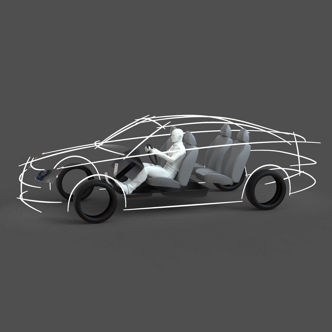 CAD ergonomic car template model MCAR1P1D0V2 3D Model in Concept 3DExport