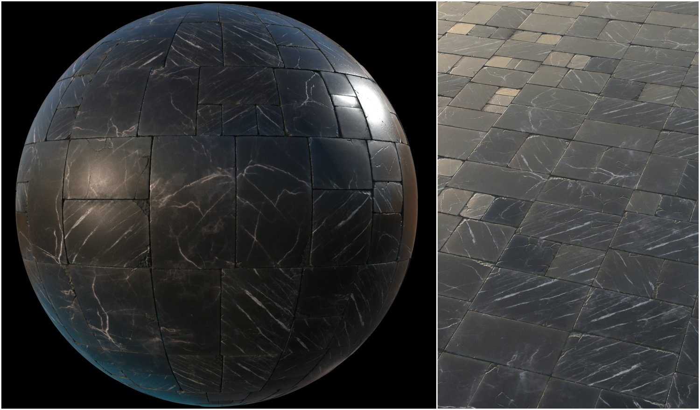 Black marble tiles PBR material pack 3D Model in Marble 3DExport