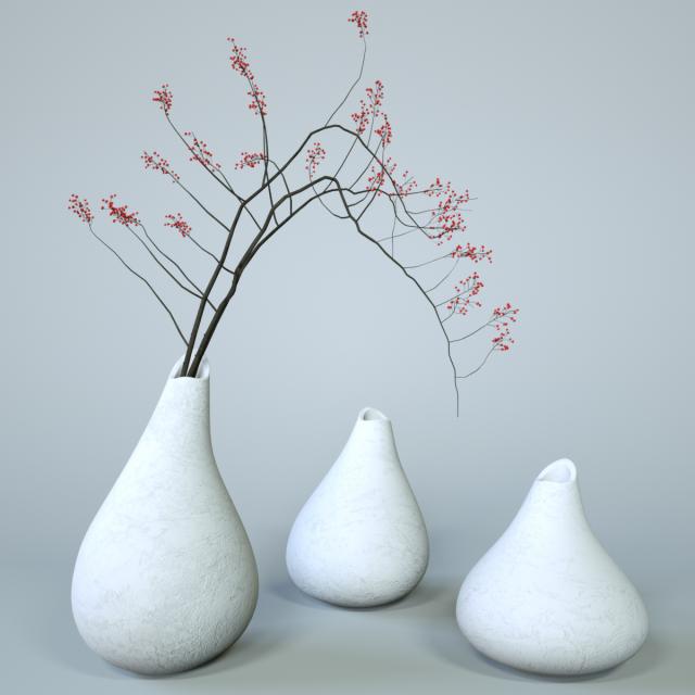 Minimalistic Ceramic Vase Set 3d Model In Living Room 3dexport