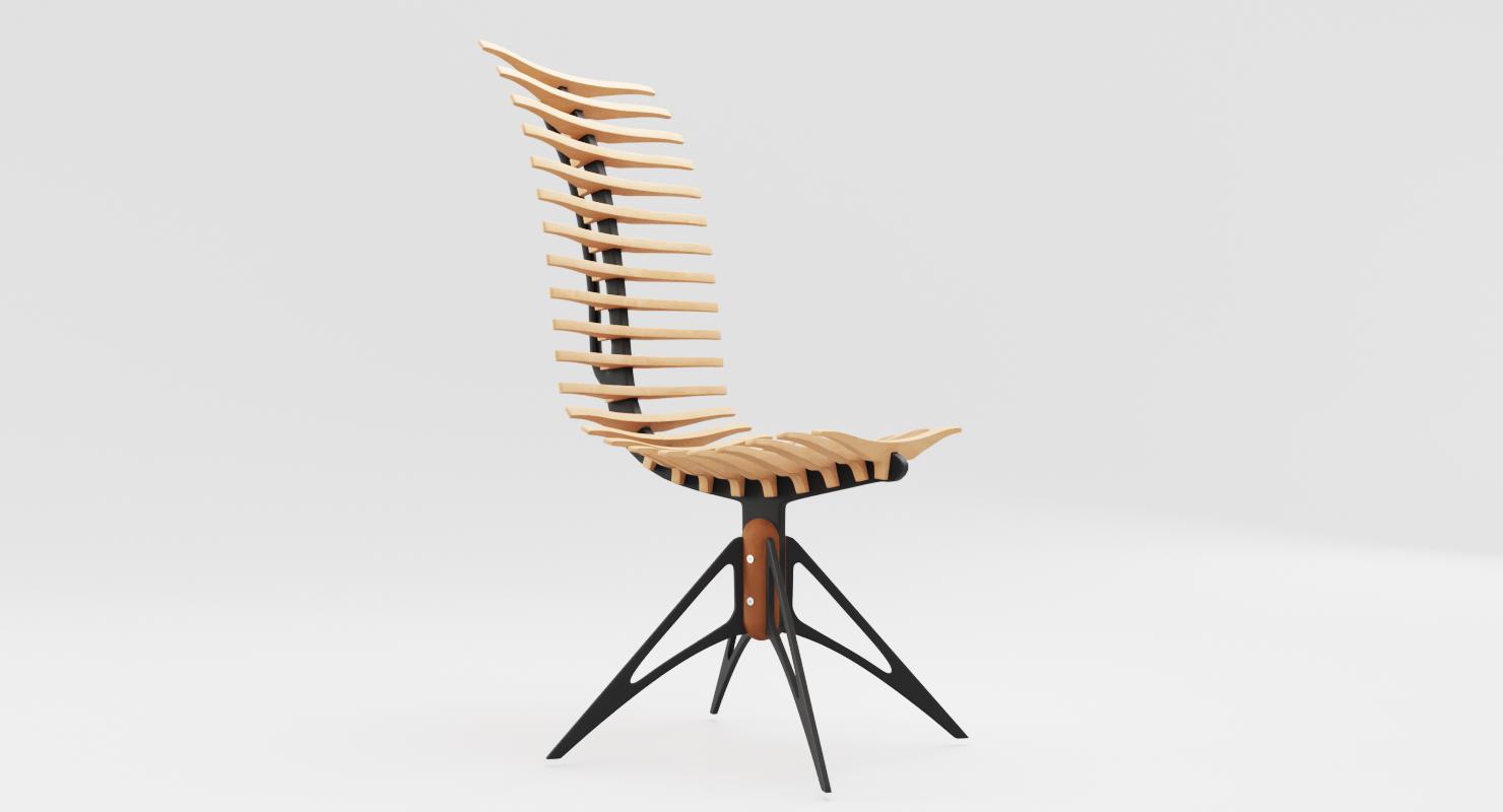 wooden skeleton chair 3d model in stool 3dexport