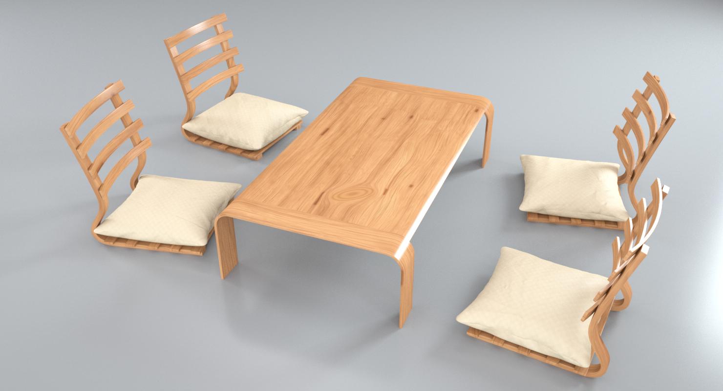 & Japanese Minimalistic Table Set 3D Model in Set 3DExport