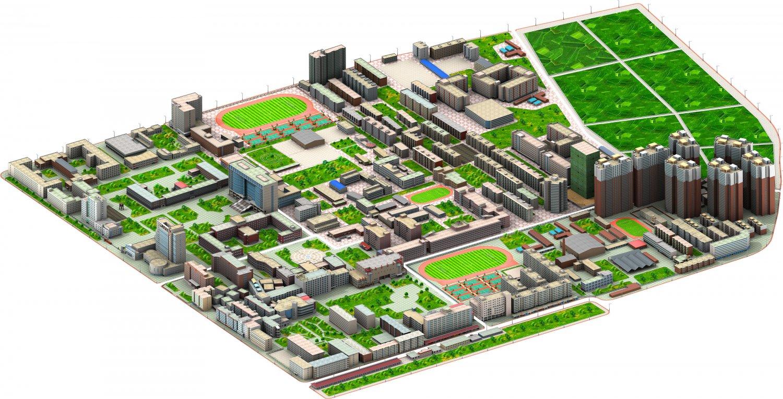 Real city 3D Model in Buildings 3DExport